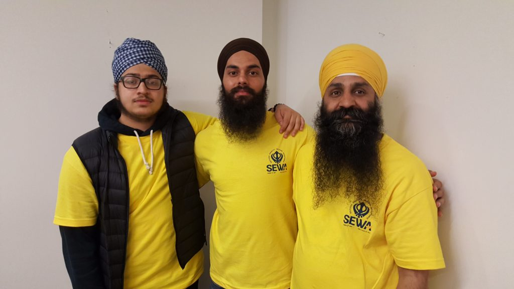 Here are three of our most dedicated volunteers at Sikh Sewa Society Toronto: (from left to right) Kiratpal Singh, Harnoor Singh, and Paramjit Singh.
